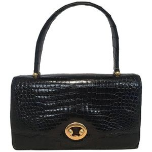 Hermes Vintage Black Alligator Handbag circa 1960